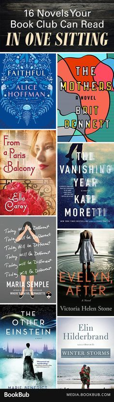 12 books your book club can read in one sitting. These fast-paced page-turners are worth a read.