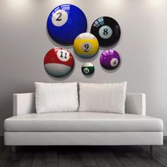 Captivating This Set Of 6 Billiard Balls Themed Art Prints Will Be Right On Cue Above  The