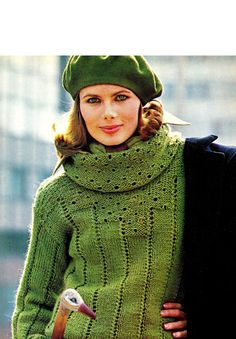 Vintage 70's Knit Eyelet COWL Sweater / PULLOVER by KinzieWoolShop