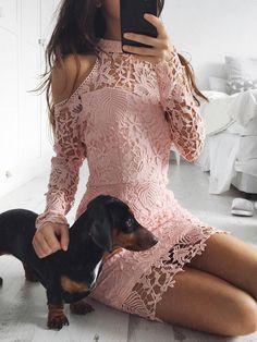 Elegant Cold Shoulder Halter Lace Bodycon Dress