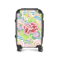 Kimono Bouquet Carry On Suitcase by #PatriciaSheaDesigns Your exotic holiday or honeymoon will be complete with this beautiful Kimono Bouquet Suitcase adorned with a beautiful and delicate watercolour painting of a Japanese garden bouquet over stylized auspicious waves and wind. Pretty in pale pinks and blues, peonies, cherry blossom, chrysanthemums and more. All originally hand painted in watercolours on paper by designer Patricia Shea