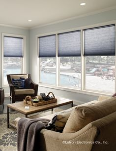 Serena Shades by Lutron connects you and your home to your windows. Custom, motorized shades and blinds for your windows and skylights. Motorized Shades, Smart Home Design, Honeycomb Shades, Shades Blinds, Window Styles, Living Room Inspiration, Room Themes, Small Spaces, Living Room Decor