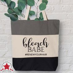 """Bleach Babe tri-color tote, just for hairstylists. Cute, useful and one of a kind. Whether you're on the hunt for a fun gift for your favorite hair colorist, or need a large carryall for yourself, with these roomy totes, you can't go wrong. Enjoy as is, or promote yourself in style; personalize this large canvas shopping tote with your IG, hashtag, or salon name. Fully customized with your choice of tote and decoration finish color and texture. TRI-COLOR TOTE: -Size: 15""""W x 15""""H x 3""""D…"""