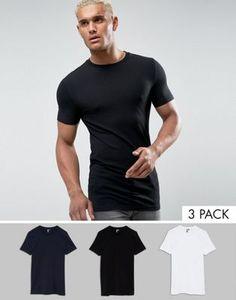 Комплект из 3 обтягивающих футболок с круглым вырезом ASOS - СКИДКА
