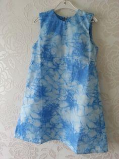 white mix blue girl dress