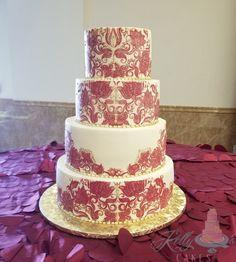 Red henna/mehndi design wedding cake, all buttercream! Red Henna, Henna Mehndi, Henna Wedding Cake, Wedding Cakes, Cake Stuff, Mehndi Designs, Cake Recipes, Desserts, Food