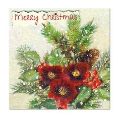 Merry Christmas Card: Hellebores and Holly, Unique Greeting Cards, Luxury… Christmas Card Crafts, Merry Christmas Card, Handmade Christmas, Flower Paintings, Print Design, Greeting Cards, Luxury, Unique, Prints