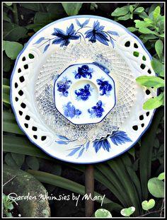 Blue and White Roses Plate Flower Garden by GardenWhimsiesByMary, $35.00