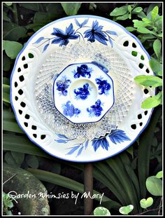 Blue and White Roses Plate Flower Garden by GardenWhimsiesByMary, $35.00