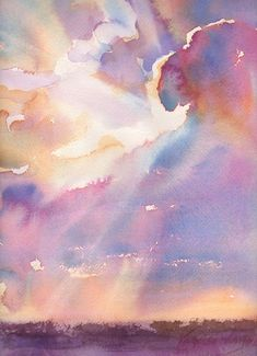 sunset sky watercolor painting for sale #watercolorarts