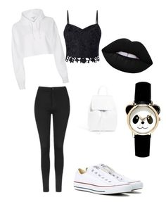 """Black and white effect "" by flamingeos ❤ liked on Polyvore featuring River Island, Lipsy, Topshop, Lime Crime, Converse and Mansur Gavriel"