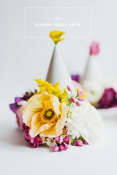 DIY floral party hats | 100 Layer Cake