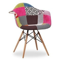 Silla TOWER WOOD ARMS - PATCHWORK - EAMES DAW Style