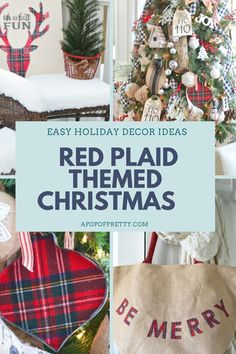 Find gorgeous, traditional red plaid Christmas decorating inspiration, including a cottage-inspired Christmas tree featured in both Women's Day and  Cottages