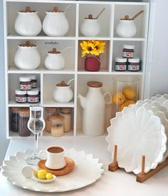 """6,203 Beğenme, 81 Yorum - Instagram'da Batuhan ♥️çınar Berk (@emel.batu): """"Bu günün de iftar menüsü böyle🤗🍽 Menüde Kuru fasulye Pilav Burma baklava Limonata Haşlama içli…"""" Kitchen Jars, Kitchen Cabinets Decor, Kitchen Items, Kitchen Drawer Organization, Spice Jars, Ceramic Design, Decoration Table, Wooden Shelves, Eclectic Decor"""