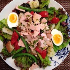 My lovely lunch today #homemade Niçoise Salad with turkey instead of tuna and the vinaigrette made with fresh basil, oregano and Thyme from the garden! Yum!