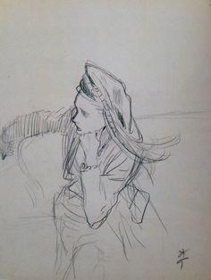 René Gruau, b&w, sketches