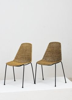Franco Campo and Carlo Graffi; Enameled Metal and Wicker Side Chairs for Home, 1950s.