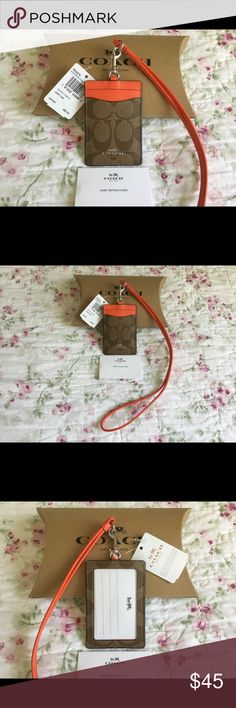 "Authentic Coach Lanyard ID Badge Holder Case Details    :   - 100% Authentic Coach ID Badge Holder Case F63274                    - 2 Slip Pockeds On The Front & Clear ID Window On The Back.                     - Khaki/Bright Orange Color.                    - Detachable Neck Strap With Dog Leash Clasp 15"" Drop                    - Measurements : 2.6"" (L) x 4"" (H)                    - Original Coach Gift Box, Care Card & Tag Included.  Shipping    :    FREE First - Class Mail Shipping in…"