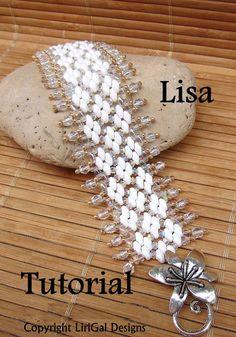 Lisa Superduo perles Bracelet tutoriel PDF par Lirigal sur Etsy