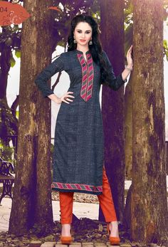 #Readymade Blue #Cotton #Long #Kurti