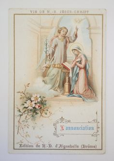 French Holy Card the Announcement by NotreDameDeParis on Etsy