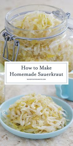 How to Make Homemade Sauerkraut Homemade Sauerkraut, Sauerkraut Recipes, Cabbage Recipes, Fermented Cabbage, Fermented Foods, Good Food, Yummy Food, Vegetable Sides, How To Make Homemade