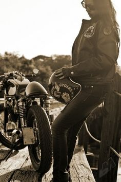 motorcycle girl with cafe racer