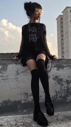 Oversized mesh top with graphic printed tee, high knees socks & faux leather shoes by svyuros - #fashion #grunge #alternative