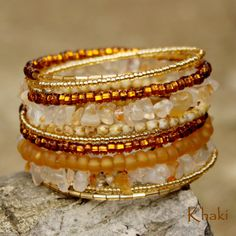 Cornelian Stoned and Orange and Golden Glass Beaded by Khakiworld, $13.00