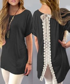 New Womens Casual Short Sleeve Lace Shirt Blouse Loose Dress T-Shirt Long Tops Blouses For Women, T Shirts For Women, Long Tops, Pattern Fashion, Fashion Outfits, My Style, Lace, Dresses, Women's Clothes
