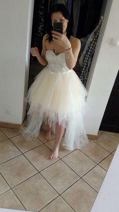946ca85eea Sukienka wesele ślub ecru tiul - 7451355251 - oficjalne archiwum allegro