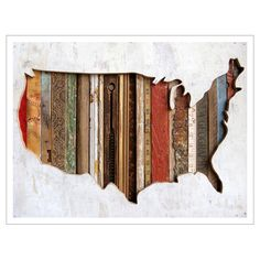 Interesting approach... fill the back of a silhouetted shape (world map or specific continent - this case U.S.) with varying pieces of texture. In this case,they used varying wooden substrates.