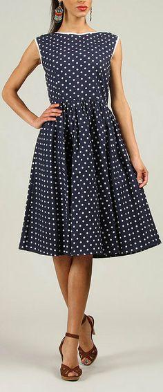 Navy Polka Dot A-Line Dress...LOVE!!!