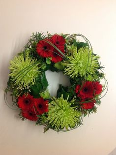 Funeral wreath. Green Mist Chrysanthemum & Binq mini Gerberas.