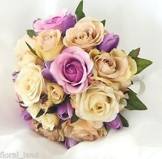 love these colours together champagne, pink and purple - wedding bouquet