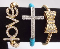 Arm Candy: 3 Piece Crystal Love Cross & Bow Sideways Fashion Stacked Bracelet Set  from ACCESSORIES AFFAIR