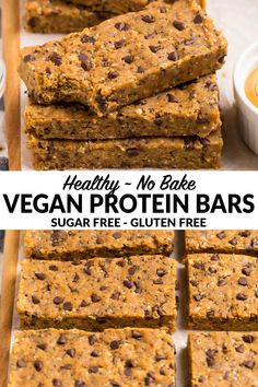 How to make the best vegan protein bars from scratch! Easy homemade recipe with oats dates peanut butter chocolate chips and NO sugar. High protein healthy and incredibly delicious. You'll never want store bought bars again! Low Fat Protein Bars, Sugar Free Protein Bars, Best Vegan Protein, Peanut Butter Protein Bars, Protein Shakes, Chocolate Protein Bars, Protein Desserts, Protein Muffins, Protein Bar Recipes