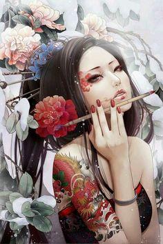 """Remember, geisha are not courtesans. We create another secret world, a place only of beauty. The very word ""geisha"" means artist. Art Geisha, Geisha Kunst, Geisha Japan, Arte Hip Hop, Geisha Tattoos, Art Asiatique, 3d Fantasy, Art Japonais, Japan Art"
