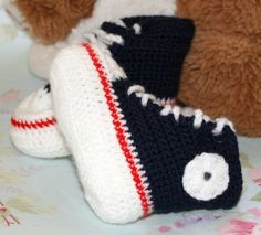 "Baby Hi Top basketball sneakers Converse style age 3 to 6 months.Length 4"".  Navy blue, white & red easy care acrylic by crochetyknitsnbits, £10.99"