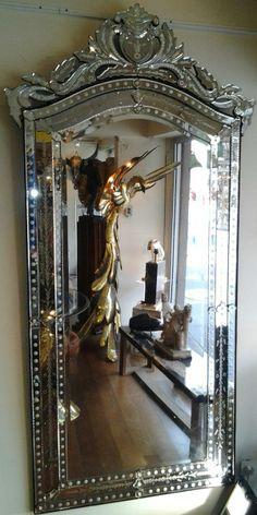 Grand miroir ancien glace la feuille or xixe h 180 cm for Miroir venitien