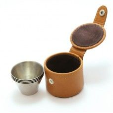 4 Medium Cups and Leather Case made by Marlborough World in West - Made In Uk, West Midlands, Camping Accessories, Leather Case, Cups, Medium, Leather Pencil Case, Mugs, Camping Products