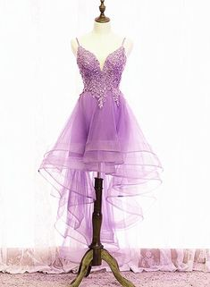 Cute Light Purple Fashionable Homecoming Dress, High Low Straps Prom D – BeMyBridesmaid Homecoming Dresses High Low, Straps Prom Dresses, Short Prom, Light Purple, Dress For You, Tulle, Cute Outfits, Formal Dresses, Short Dresses