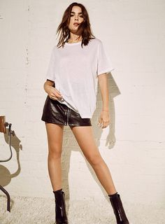 Model wears Oversized Crew Neck T-Shirt for lookbook photoshoot