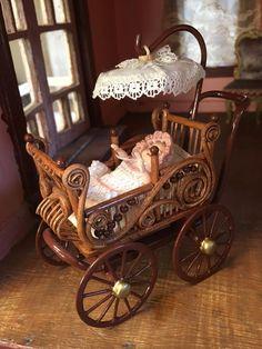 Artisan Miniature Dollhouse Custom Bent Wood Victorian Pram Signed OOAK AR53 #ArtistSignedBJR