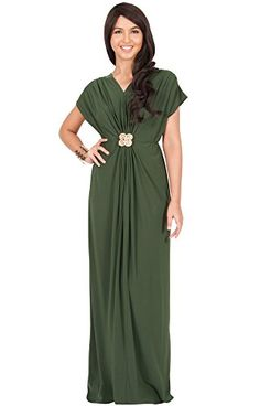 97ae670c59b KOH KOH Womens Long Vneck Short Sleeve Ruched Waist Long Gown Designer  Party Evening Pleated Prom