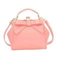 Qianle Women PU Leather Cute Bow Patten Handbag Purse Girls CrossBody Bag Pink >>> Be sure to check out this awesome product.