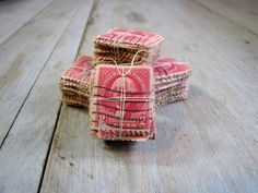 vintage red postage stamps by scrapology on Etsy, $5.00