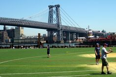 East River Park and Williamsburg Bridge, New York City, NY;  the 7,308 feet long bridge opened in 1903;  photo by wallyg, via Flickr