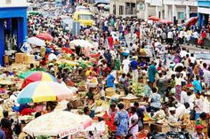 Crowded Makola Market in central Accra, Ghana. Such an intense place to be!!